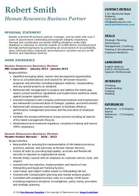 human resources business partner resume samples qwikresume