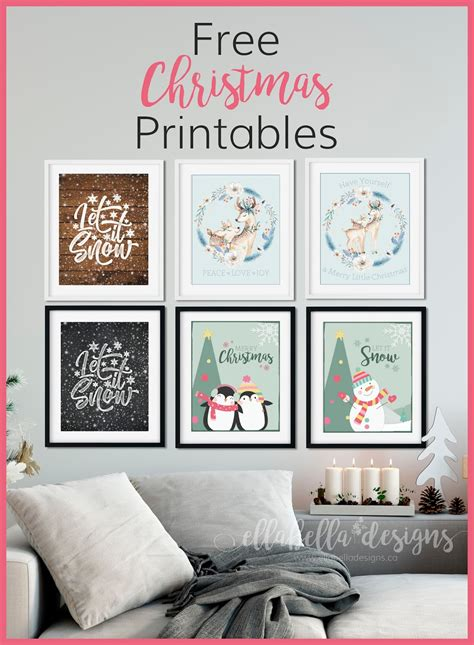 They look stunning as a set of three but one would also be. Ellabella Designs: FREE CHRISTMAS WALL ART DECOR PRINTABLES
