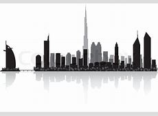 Dubai city skyline silhouette vector illustration Stock