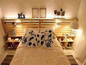 Lit En Palette Avec Rangement : lit palette avec tete de lit rangement dans petite chambre ~ Melissatoandfro.com Idées de Décoration