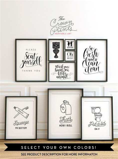 print bathroom ideas printable bathroom wall from the crown prints on etsy
