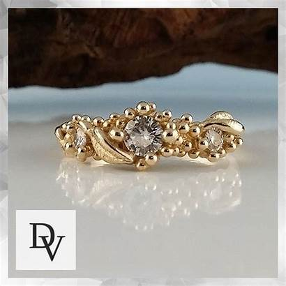 Moissanite Engagement Leaf Sculpted Vertrees Dawn Ring
