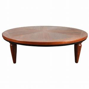 Large round walnut mid century coffee table with sculpted for Double round coffee table
