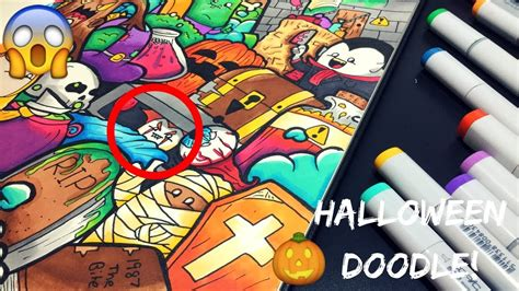 epic halloween doodle copic marker illustration youtube