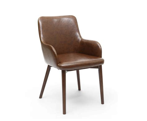 eastwood vintage brown leather dining chairs  armchairs