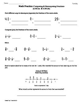 4 nf 3a b composing and decomposing fractions 4th grade math worksheets
