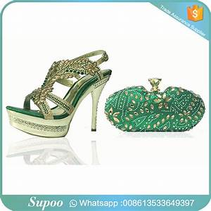 Classic Pattern Nice Crystal Evening Bag Matching Shoes