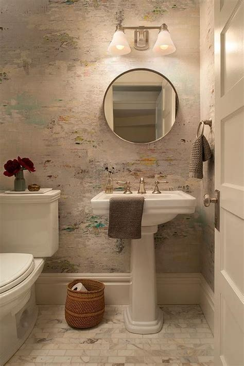 watercolor wallpaper  powder room transitional bathroom
