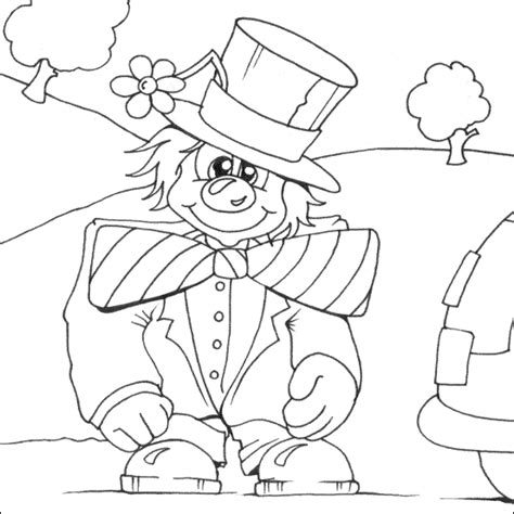 funny clown colouring page