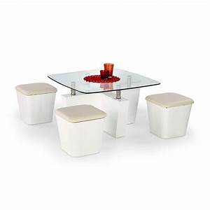 Coffee table with stools invites more friends to hang out for White coffee table with stools