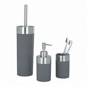 Wenko creta bathroom accessories set grey at victorian for Grey bathroom accessories uk