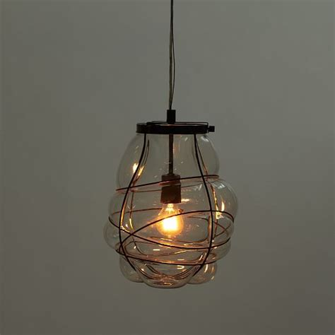 organic blown glass pendant west elm