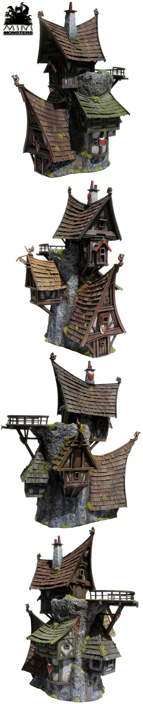 wizard fantasy medieval houses concept mini 3d empire warhammer game miniature wizards environment monsters building level terrain monster games nha