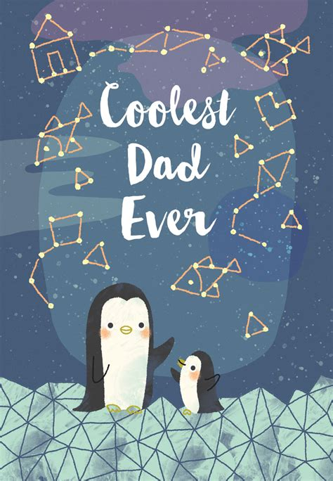 cool penguins fathers day card   island