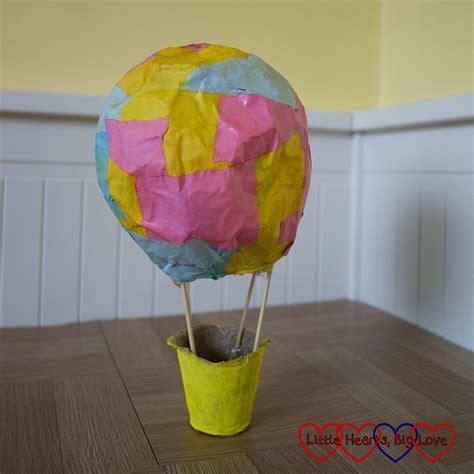 crafting  kids making  papier mache hot air balloon