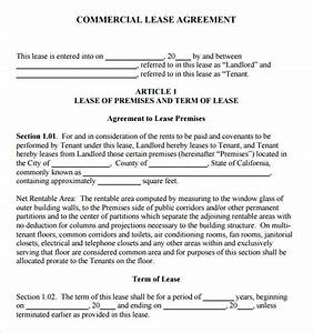 sample commercial lease agreement 7 example format With commercial lease document template
