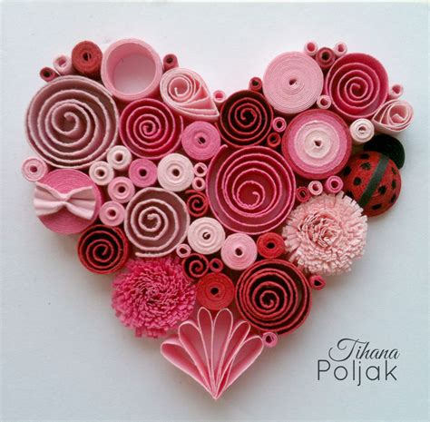 quilled heart quilling red rose heart love quilling