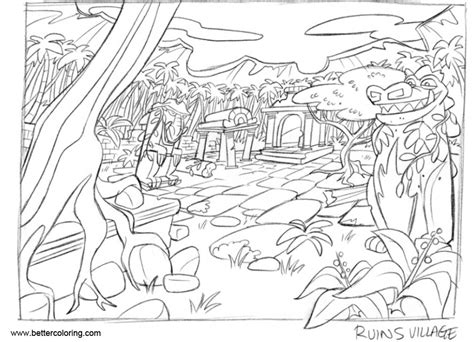 Jungle Coloring Pages Jungle Ruins Rough Drawing By Tomban