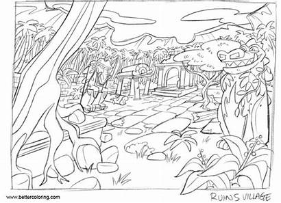 Jungle Coloring Drawing Pages Ruins Rough Printable