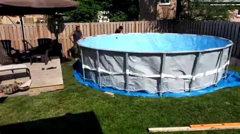 Deck Around Intex Pool by Ground Prep And Intex Ultra Frame Pool Installation Youtube