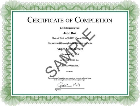 certificate  completion  aj novick group