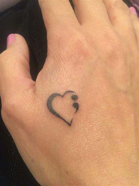 Semi Colon Heart Tattoo Suicide Prevention Tattoos