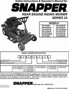 Snapper 281323bve User Manual Rear Engine Riding Mower