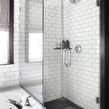 Shower White Subway Tiles, Gray Grout  Osu Interiors