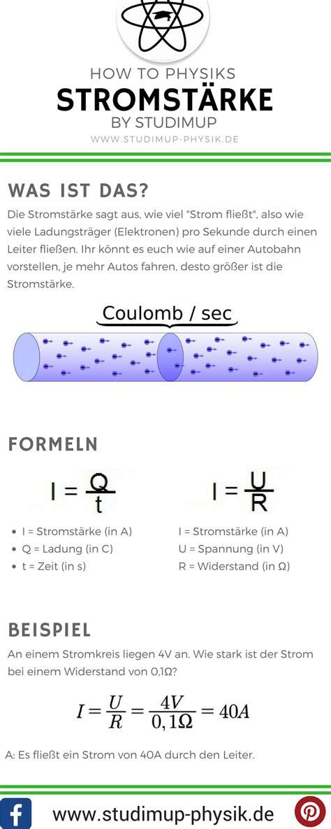 spickzettel zum lernen der stromstaerke  der physik