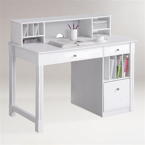 world market white desk white wood clara desk with hutch world market