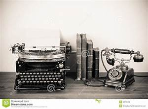 Antique Phone And Typewriter Stock Image - Image of ...