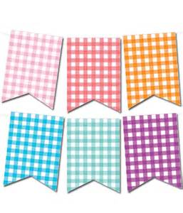 gingham pennant banner in 12 colors chicfetti