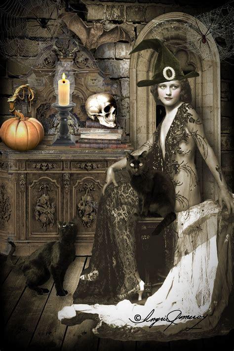 witchy diva halloween art vintage halloween