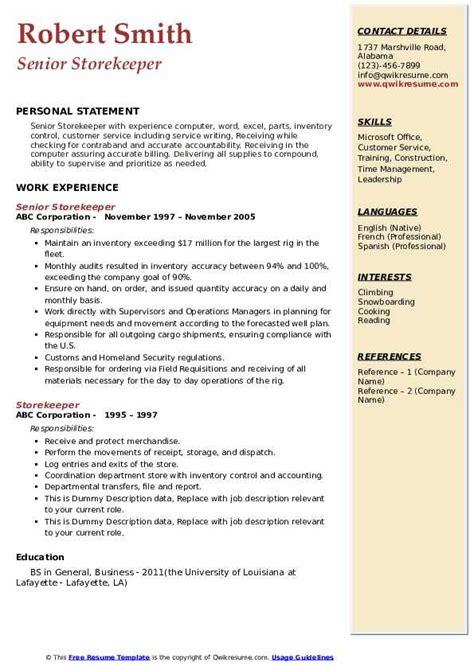 storekeeper resume samples qwikresume
