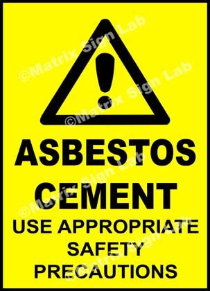 asbestos cement   safety precautions sign