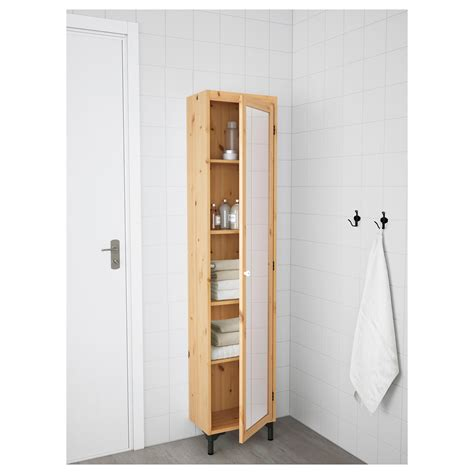 silver 197 n high cabinet with mirror door light brown