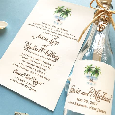 stacie beach wedding invitation in a bottle Custom