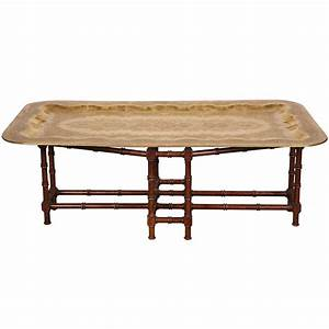 mid century rectangular brass tray coffee table at 1stdibs With mid century rectangular coffee table