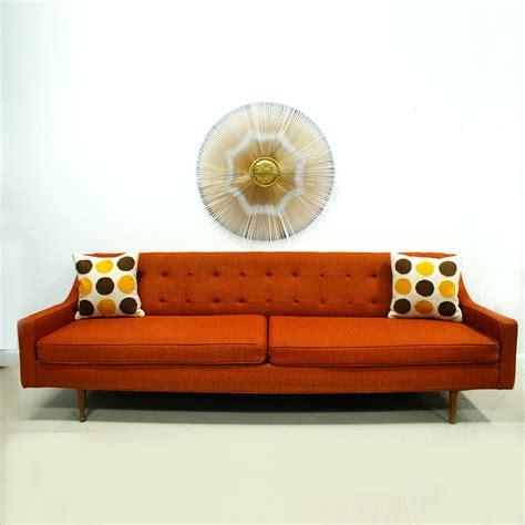 orange sofa mid century modern free shipping