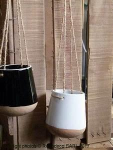 Cache Pot Suspendu : cache pot porcelaine suspendu blanc et marron madam stoltz ~ Teatrodelosmanantiales.com Idées de Décoration