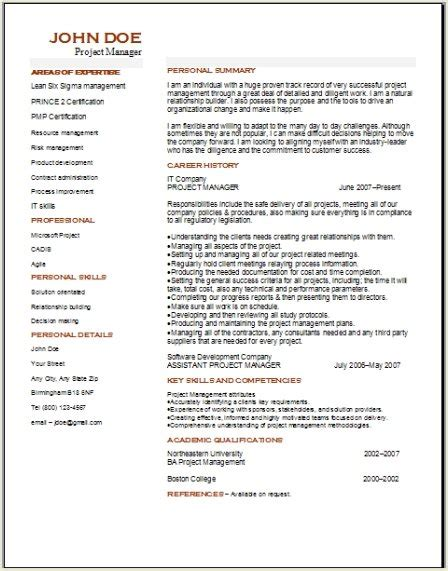 project management resume occupationalexamplessamples
