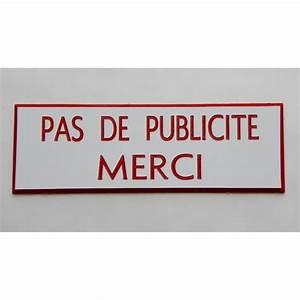 Pas De Pub Merci : plaque grav e stop pub pas de publicite merci blanc ~ Dailycaller-alerts.com Idées de Décoration