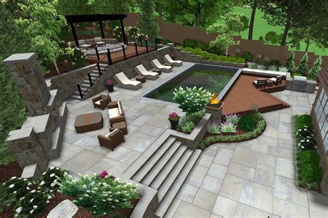 Landscape And Patio Design by Aerial View Of Landscape With Patio And Pool Land