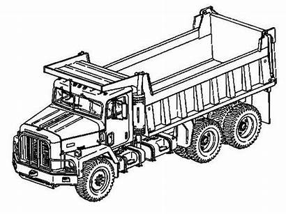 Coloring Truck Dump Pages Semi Drawing Trailer