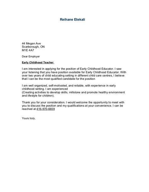Letter Of Interest Exle Education by Sle Cover Letter