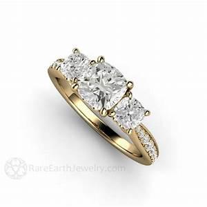 Moissanite Engagement Ring Three Stone Forever One Cushion ...