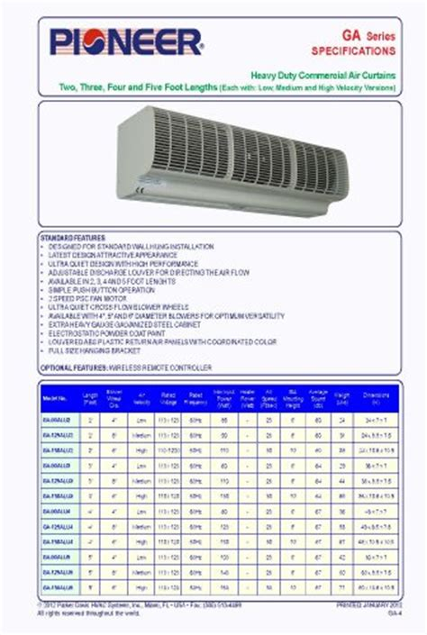 pioneer air curtain 48 quot coverage 4 heavy duty comme