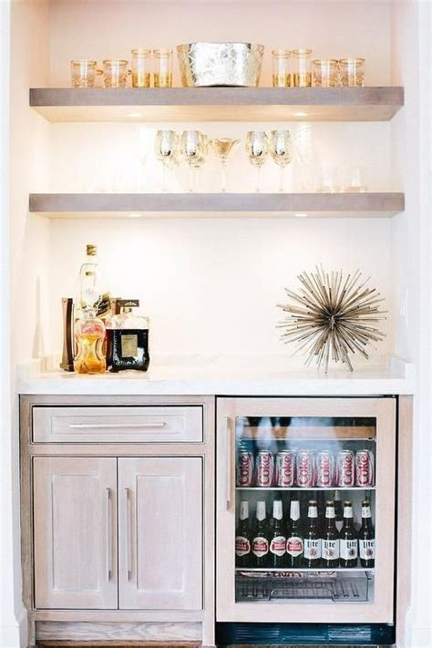 Fantastic bar nook is filled with gray wash floating