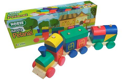 puzzle mancing nobie kereta pelangi mainan kayu