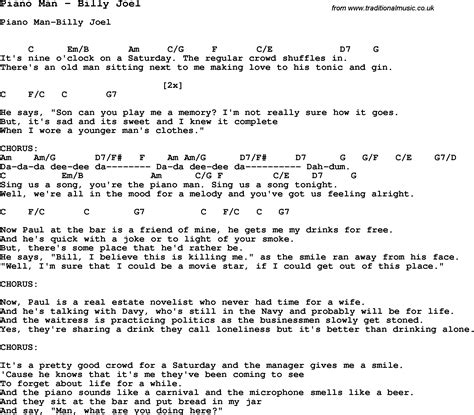song piano man  billy joel  lyrics  vocal